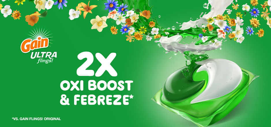 Gain Ultra Flings Laundry Pacs contain double the Oxi Boost and Febreze (vs. Gain Flings Original)