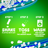 Usage directions for the Gain Blissful Breeze Fireworks In-Wash Scent Booster: step 1, shake, step 2, toss into the washer drum, step 3, wash the clothes