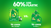 Gain Original Eco-Box Liquid Laundry Detergent's packaging is made with 60% less plastic per ounce vs. 3 x 50-ounce bottles