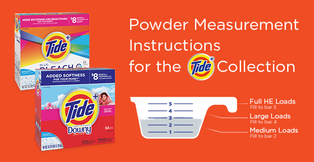Powder measurement instructions for the Tide Plus collection