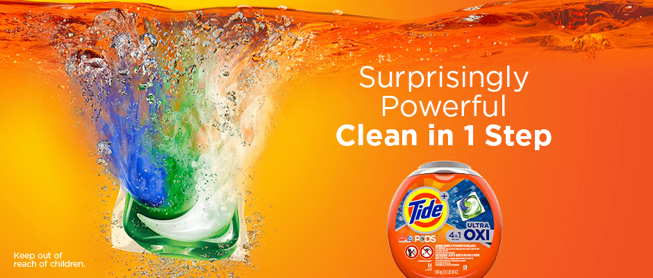 Tide PODS Ultra Oxi pods give a surprisingly powerful clean in just one step.