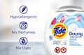 Tide PODS® Plus Downy Free are hypoallergenic laundry detergent pacs with no dyes and perfumes.