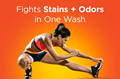 Tide Plus Febreze Sport Odor Defense™ Liquid Detergents fight stains and odors in just one wash
