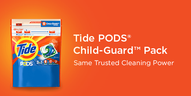 New safer Tide pack with Child-Guard&trade zipper