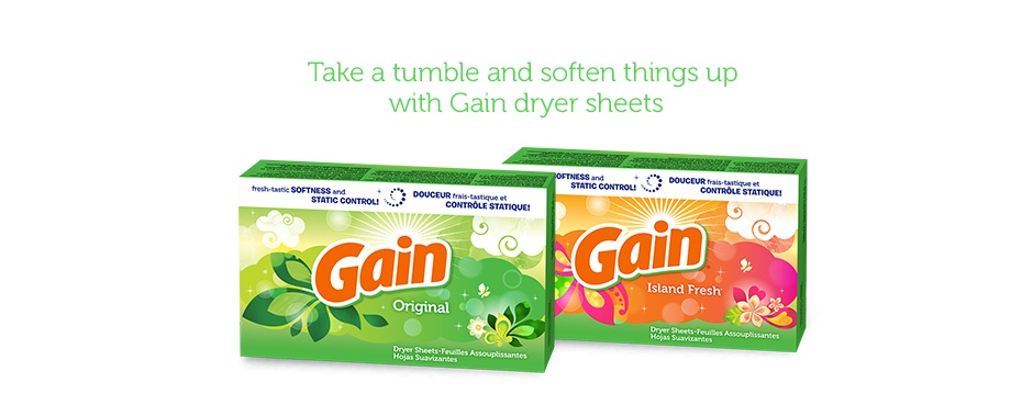 Take a tumble and soften things up with Gain dryer sheets and dryer bars.